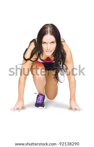 Isolated Female Marathon Runner Crouching Down At Starting Blocks During A Track And Field Running Race Etched On A White Background With Room For Copy Space