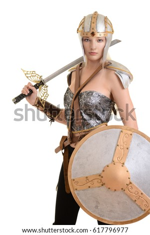 Stock Photo isolated female warrior with helmet and shield