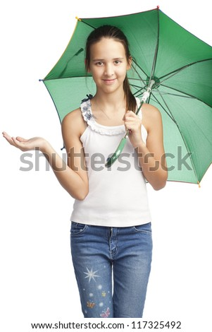 isolated figure of caucasian girl with green umbrella