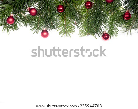 isolated Fir branches with Christmas tree balls #235944703