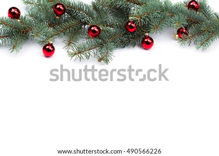 isolated Fir branches with Christmas tree balls. #490566226