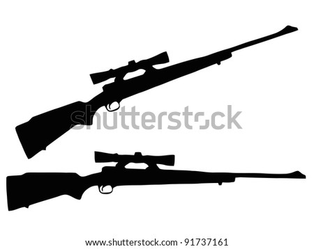Isolated Firearm - Rifle with Scope - black on white silhouette