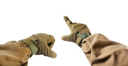 Isolated first person view photo of hand fist and finger pointing in tactical gloves and olive jacket.