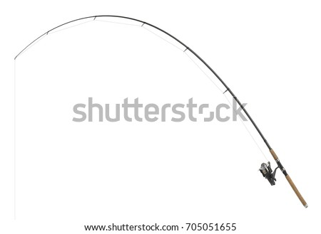 isolated fishing pole in white back #705051655
