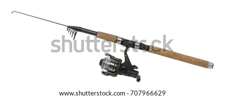 isolated fishing pole in white back #707966629