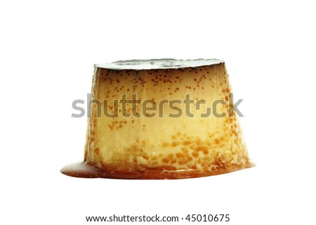 isolated flan dessert on a white background