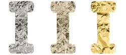 Isolated Font English or Latin Letter I made of crumpled titanium, silver, gold foil on a white background
