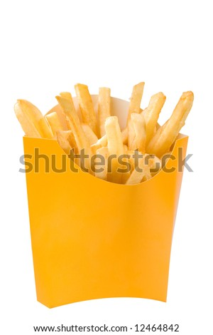 Isolated French fries in white box. big size