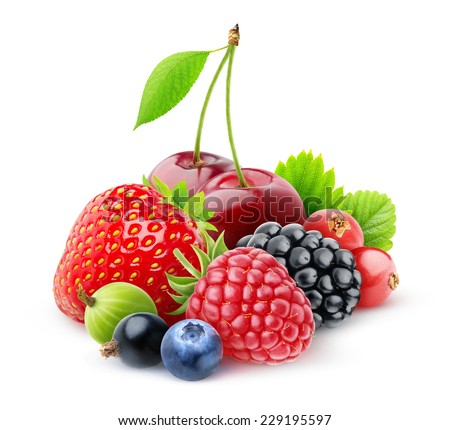Isolated fresh berries. Strawberry, cherry, raspberry, blackberry, red and black currants, blueberry and gooseberry isolated on white background, with clipping path #229195597