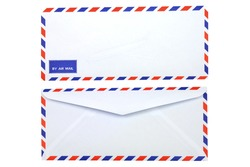 Isolated front and back of air mail envelope