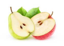 Isolated fruits. Half of red apple and yellow pear (baby food ingredients) isolated on white background, with clipping path