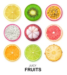 Isolated fruits slices. Pieces of lemon, kiwi, passion fruit, dragon fruit, mangosteen, grapefruit, orange, lime and pineapple isolated on white background with clipping path
