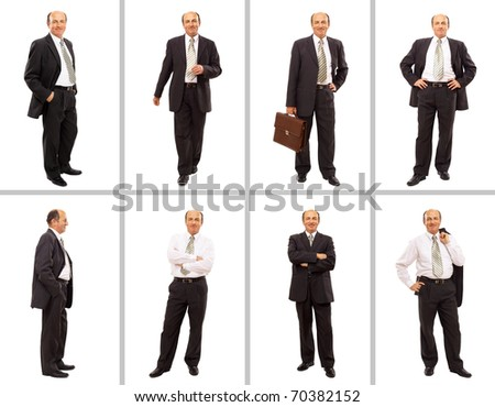 Isolated full body portrait of a senior businessman