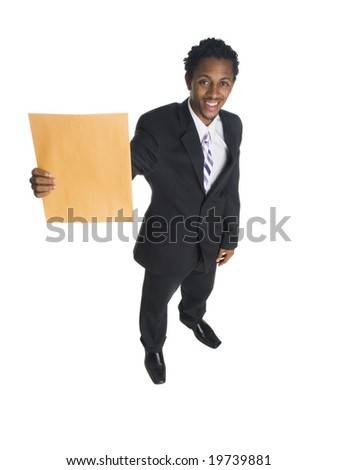 Isolated full length high angle studio shot of a businessman holding up a business letter.