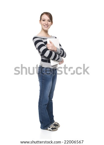stock photo : Isolated full length studio shot of a casually dressed young ...