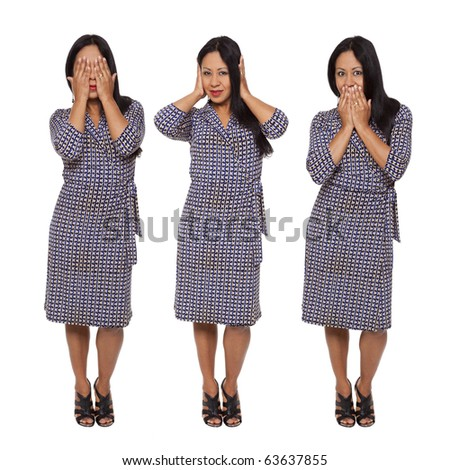 Isolated full length studio shot of a Latina woman in the See No Evil, Hear No Evil, Speak No Evil poses.