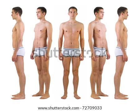 Isolated full length studio shot of young athlete man in underwear