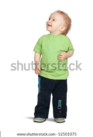 Isolated full length view of 2 years old boy