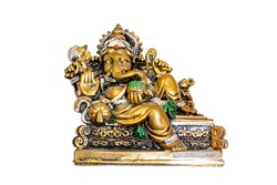 Isolated Ganesh statue replica on white background