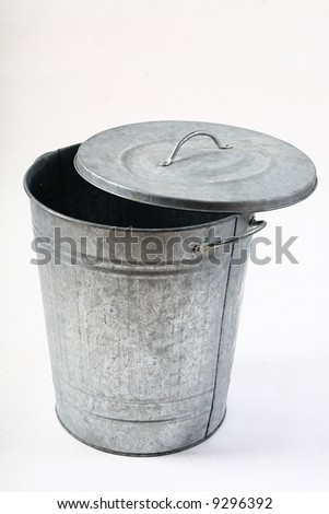 isolated garbage can - stock photo