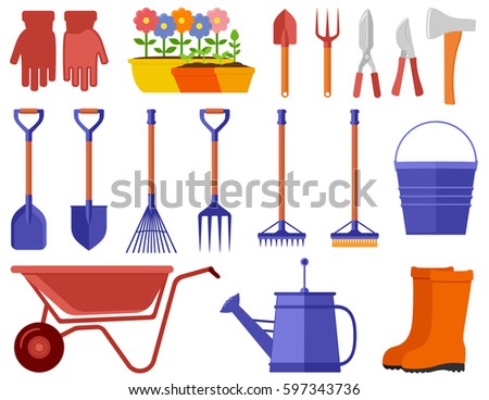 isolated garden tools. garden tools icons set for landscaping. garden tools, equipment, planting process flat design style