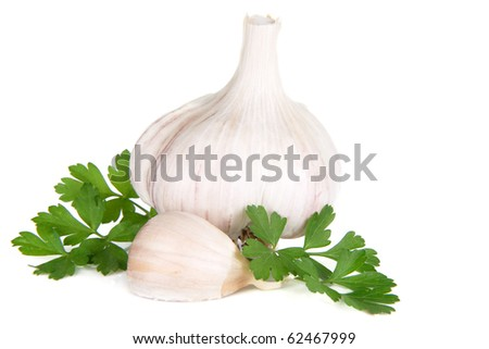 isolated garlic and green parsley on white