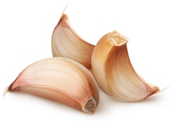 Isolated garlic. Raw garlic segment isolated on white background, with clipping path