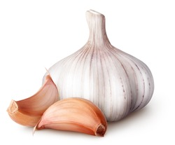 Isolated garlic. Raw garlic with segments isolated on white background, with clipping path