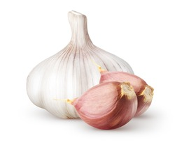 Isolated garlic. Raw whole garlic with two segments isolated on white background with clipping path