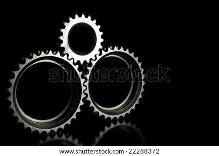 isolated gears on black
