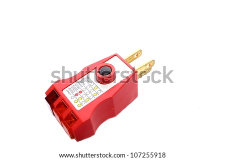 Isolated GFCI outlet tester that tests the ground fault by overloading circuit and tripping GFCI.