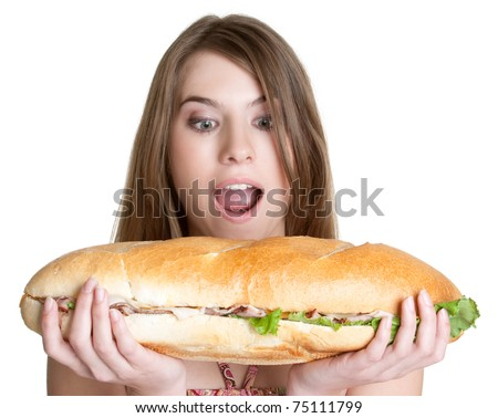 Isolated girl eating sandwich food
