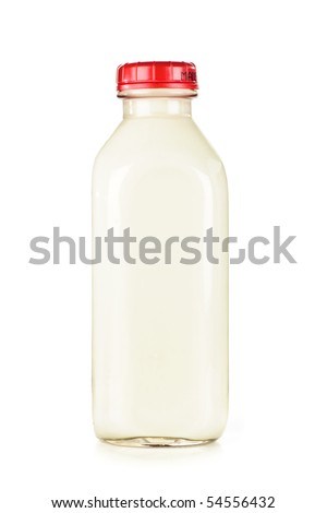 Isolated glass bottle of nutritious white milk
