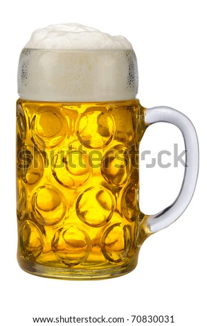 isolated glass of german bavarian beer