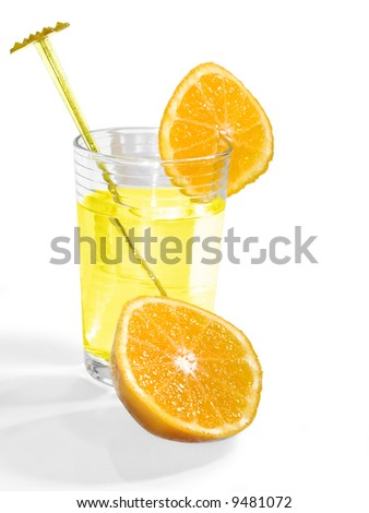 Isolated glass of lemonade with oranges on a white background