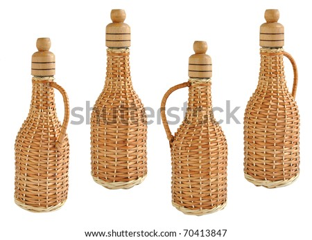 isolated glass wine bottle braided straw
