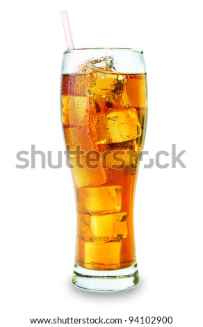 Isolated glass with ice tea on a white background