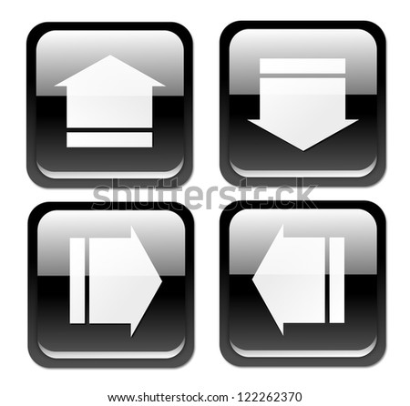 Isolated, glossy, black arrow/download button on white background.