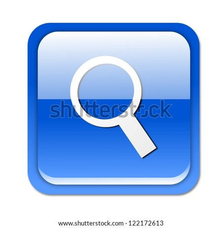 Isolated, glossy, blue search/zoom button on white background.