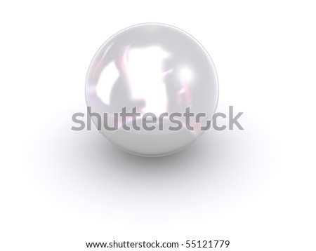 isolated glossy white 3d pearl