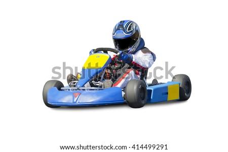 Isolated Go Kart Racer on White Background