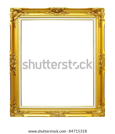 Isolated gold wooden Photo Frame