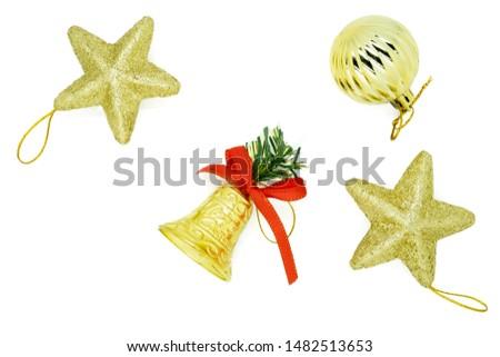 Isolated Golden bell ,Golden stars , Golden ball decoration for Christmas tree for Christmas Festival on white background