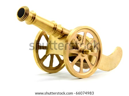 isolated golden cannon on white #66074983