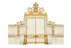 Isolated golden gates to Versailles castle. France.