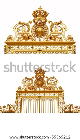 Isolated golden gates to Versailles castle,France.