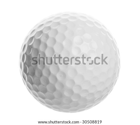 isolated golf ball closeup on a white background