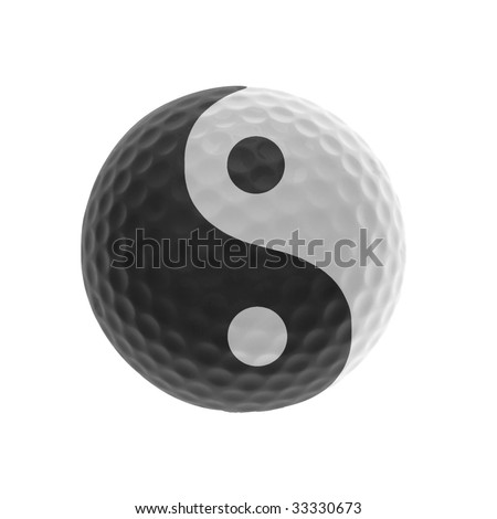 Isolated golf-ball with yin & yang symbol