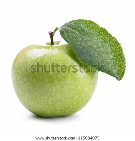 isolated green apple and leaf