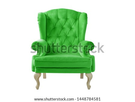 Isolated green armchair. Vintage armchair. Insulated furniture. Green lime chair. Bright green velvet armchair #1448784581